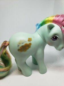 My Little Pony G1 Sunlight Rainbow 1983 Green Gold Clouds Rainbow Hair Vintage