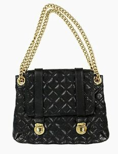 Image Is Loading Marc Jacobs Black Quilted Leather Gold Chain Handbag