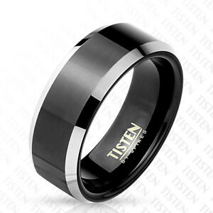 Black Tisten TungstenTitanium Mens 2Tone Wedding Band Ring Size