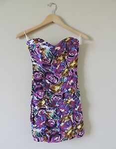 Women-039-s-Sugar-Lips-Anthropologie-Floral-Purple-Fitted-Dress-Size-XS