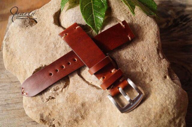 Handmade watch strap Brown slim Genuine leather