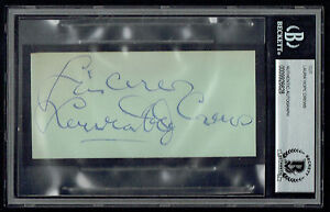 Laura Hope Crews (d 1942) signed autograph 2.5x4 cut Gone With The Wind BAS Slab