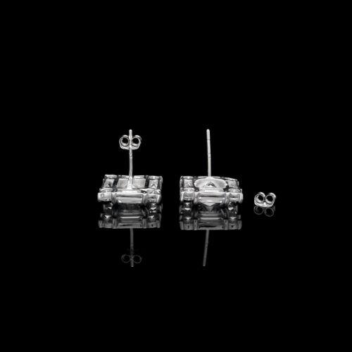 4CT T.W Princess Baguette Round Cut Created Diamond Stud Earrings 14K White Gold
