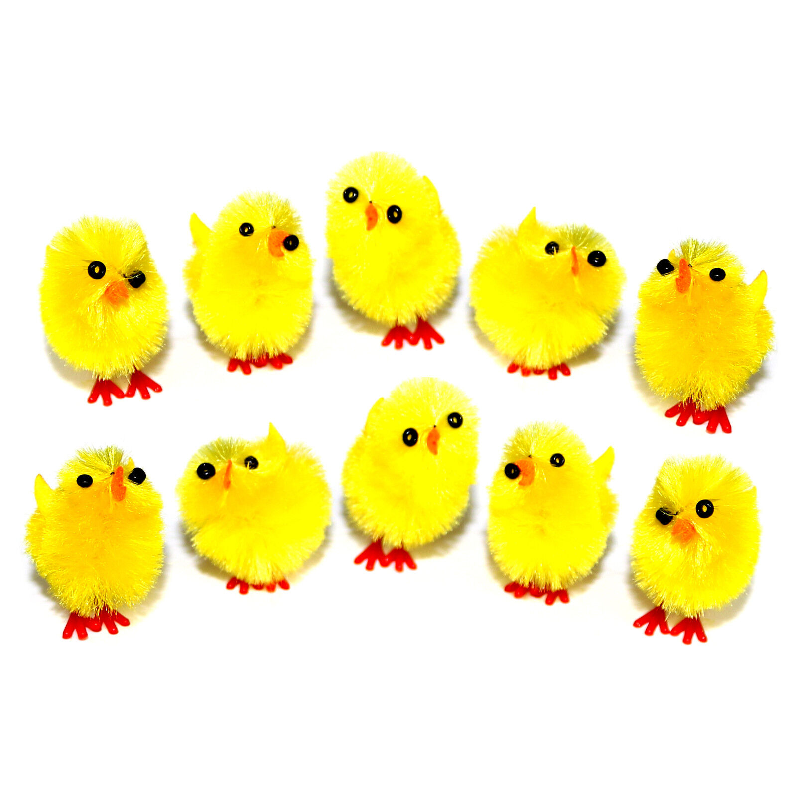 New 12 x Small Mini Yellow Fluffy Easter Chicks Cake Craft Decorating Hat Bonnet