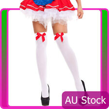 White Thigh High Stockings With Red Bow Beer Maid German Oktoberfest Costume