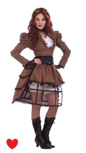 ladies steampunk fancy dress costume size 14 16 cosplay hooped skirt