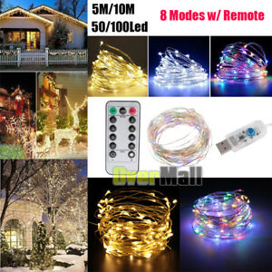 5M-10M-50-100Led-USB-Copper-Wire-RGB-Fairy-String-Light-With-Remote-Control-Xmas