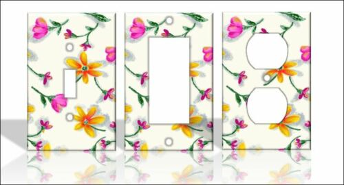 Pink /& Orange Flowers Light Switch Covers Floral Home Decor Outlet