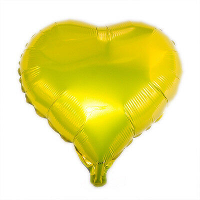 "18"" Yellow Heart Shaped Helium Mylar Foil Balloon Party Supply Happy Birthday"