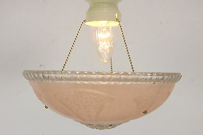 Vintage Art Nouveau Ceiling Light Fixture w/ 3 Chain Pink Glass Floral Shade
