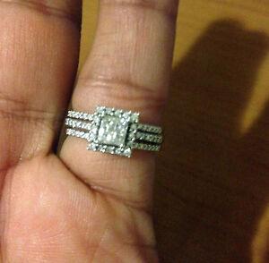 White Gold Princess Cut Quad Diamonds Halo Style Bridal Wedding Ring