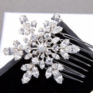 Image is loading Winter-Snowflake-Snow-Rhinestone-Crystal-Bridal-Hair-Comb- bf4ae170dcd