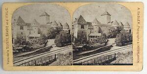 Château Da Chillon Suisse Foto A.Gabler Stereo Vintage Albumina c1880