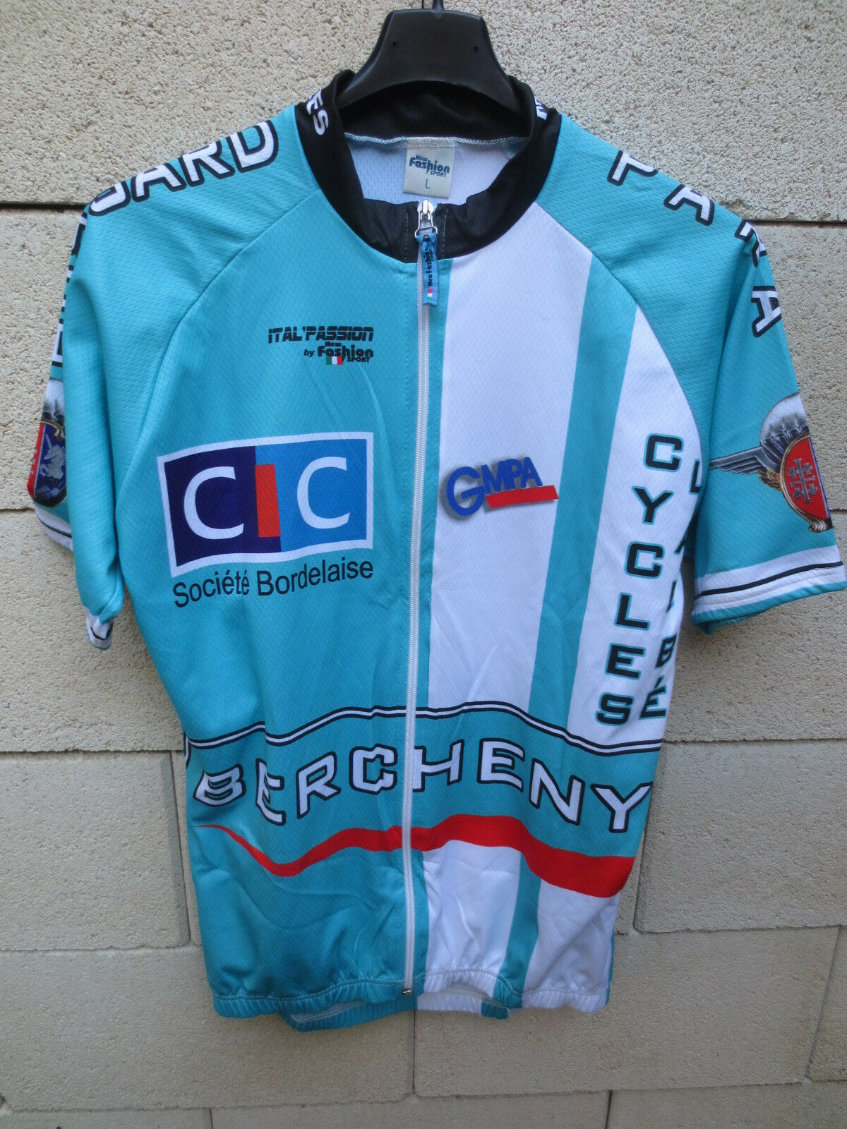 Maillot cycliste HUSSARD PARA TARBES Ital'Passion blue ciel collection L 1er RPH
