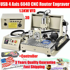 New Listingusb 4 Axis 6040 Cnc Router Engraver 15kw Vfd Drill Milling Machinecontroller