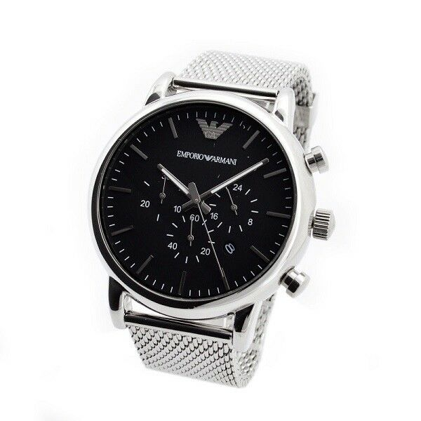 79fe44d48 BRAND NEW EMPORIO ARMANI BLACK DIAL STAINLESS STEEL CHRONOGRAPH MEN WATCH  AR1808