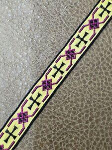 Vintage-Casula-Croce-Orlo-Galloon-Nero-su-Color-Oro-1-3cm-Larghezza-4-6m-Lotto
