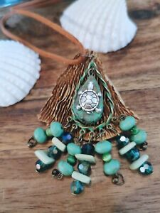Beautiful Hand Painted Patina Turtle Pendant with Green Howlite Cats Eyes Beads
