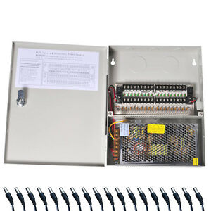 18 CH Security Camera Power Box Supply Distributed Switch CCTV with Pigtails 1SW
