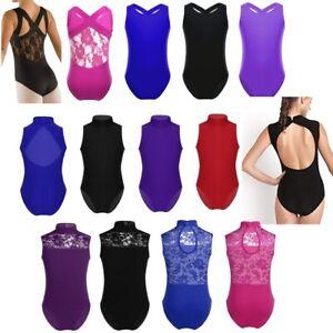 Girls-Ballet-Dance-Dress-Tank-Leotard-Gymnastics-Turtle-Neck-Ballerina-Dancewear