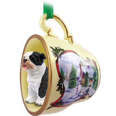 Bulldog Dog Christmas Holiday Teacup Ornament Figurine Brindle