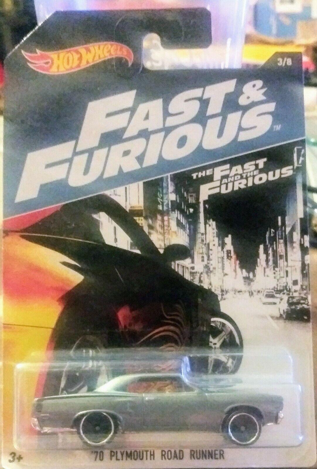 1970 Plymouth Road Runner Fast /& Furious 3//8 1:64 HOT WHEELS dwf73 dwf68