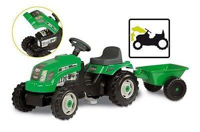 Traktor mit Anhänger aufklappbare Fronthaube in grün für Kinder ab 3 Jahren NEU