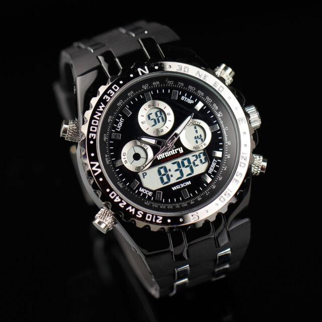 INFANTRY Digital Quartz Mens Wrist Watch Date Day Chronograph Rubber Army Sport
