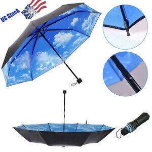 super anti uv sun protection umbrella blue sky 3 folding gift parasols rain ebay. Black Bedroom Furniture Sets. Home Design Ideas