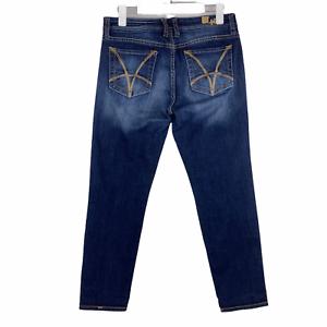 Kut From The Kloth Catherine Slim Boyfriend Cropped Jeans Dark Blue Denim Size 8