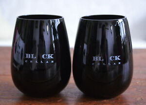 Lot-2-BLACK-CELLAR-Advertising-4-034-Opaque-Stemless-Wine-Glass-Goblet-Cup-Tumbler
