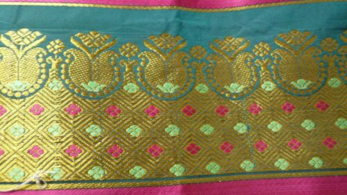 Sari bordo Seal verde di con oro Vintage Sku15177 Saree seta OfwfgRqAx