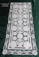 NAPPERON CHEMIN RICHELIEU ROYAL SUR LIN RECTANGULAIRE BLANC 37cm x 82 ANNABELLE