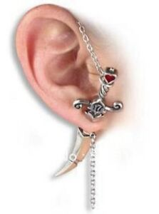 PIRATE-DAGGER-EARRING-WITH-RED-ENAMEL-HEART-HILT-GOTH-ALCHEMY-BIRTHDAY-GIFT