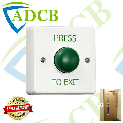 Surface Mount Green Push to Exit Button Plate Access Release Dome PTE