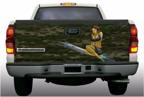 Military pinup girl truck tailgate vinyl graphic decal wraps