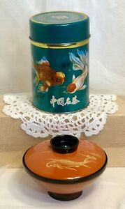 2-VTG-Decorative-Tea-Caddy-Metal-Tin-Lacquer-Ware-Soup-Bowl-Orander-Koi-Fish-Lot
