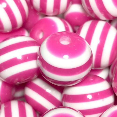 10 pieces 16mm hot pink striped chunky bubblegum beads DIY necklace
