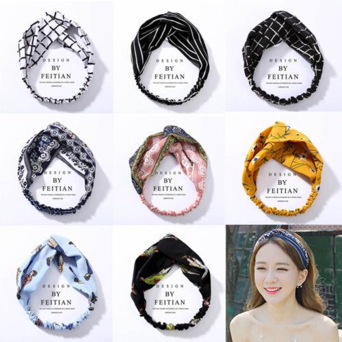 Korean Style Headwrap Elastic Hairband Women Twisted Headband Floral Turban