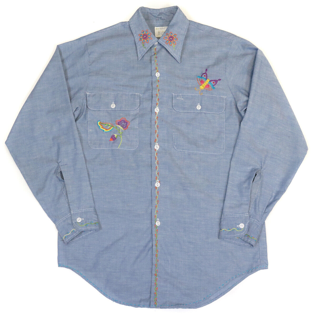1970s JC Penney Big Mac Size M Floral Butterfly Embroidered Farm Country Shirt