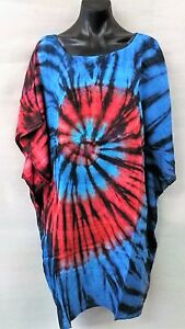Colourful-Long-Tie-Dye-Blue-Red-Loose-Fitting-Tunic-Top-Size-12-14-16-18