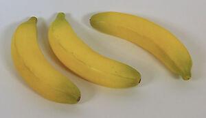 Designer Decorative Two (2) Artificial Faux Fake Yellow Banana Fruit