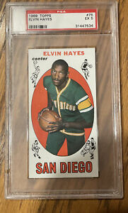 1969 Topps Elvin Hayes RC GRADED EX 5 Basketball Rookie Card
