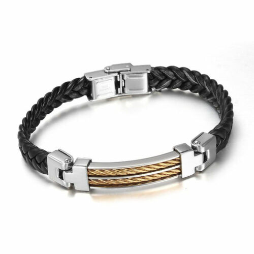 Men/'s Stainless Steel Black Braided Leather Bracelet Cuff Bangle Wristband
