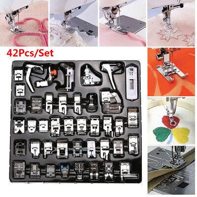 42pcs Sewing Machine Foot Presser Feet Kit Brother Singer Domestic Snap Set