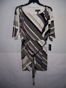 Black White Print Dress Size L Nwt