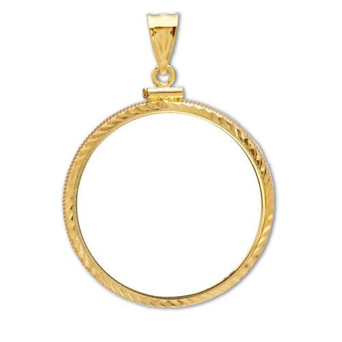 SKU #63609 14K Gold Screw-Top Diamond-Cut Coin Bezel 34.2 mm