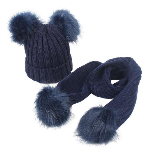 Kids Babys Boys Girls Double Pom Hat Faux Fur Scarves Set Winter Warm Beanie Cap