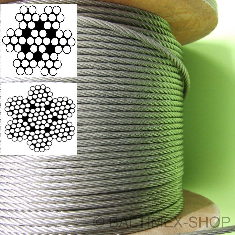 8 mm EDELSTAHLSEIL DRAHTSEIL V4A EDELSTAHLDRAHTSEIL SPANNSEIL CABLE INOX 8mm