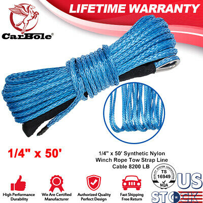 "1//4/""x50/' Synthetic Winch Rope Line Cable 8200LB Capacity ATV UTV W// Sheath Green"